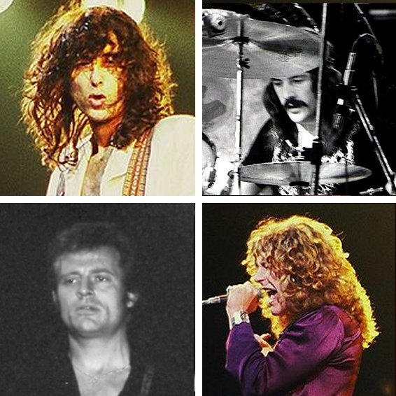 Jimmy Page, John Bonham, John Paul Jones, and Robert Plant of Led Zeppelin rocking forevermore