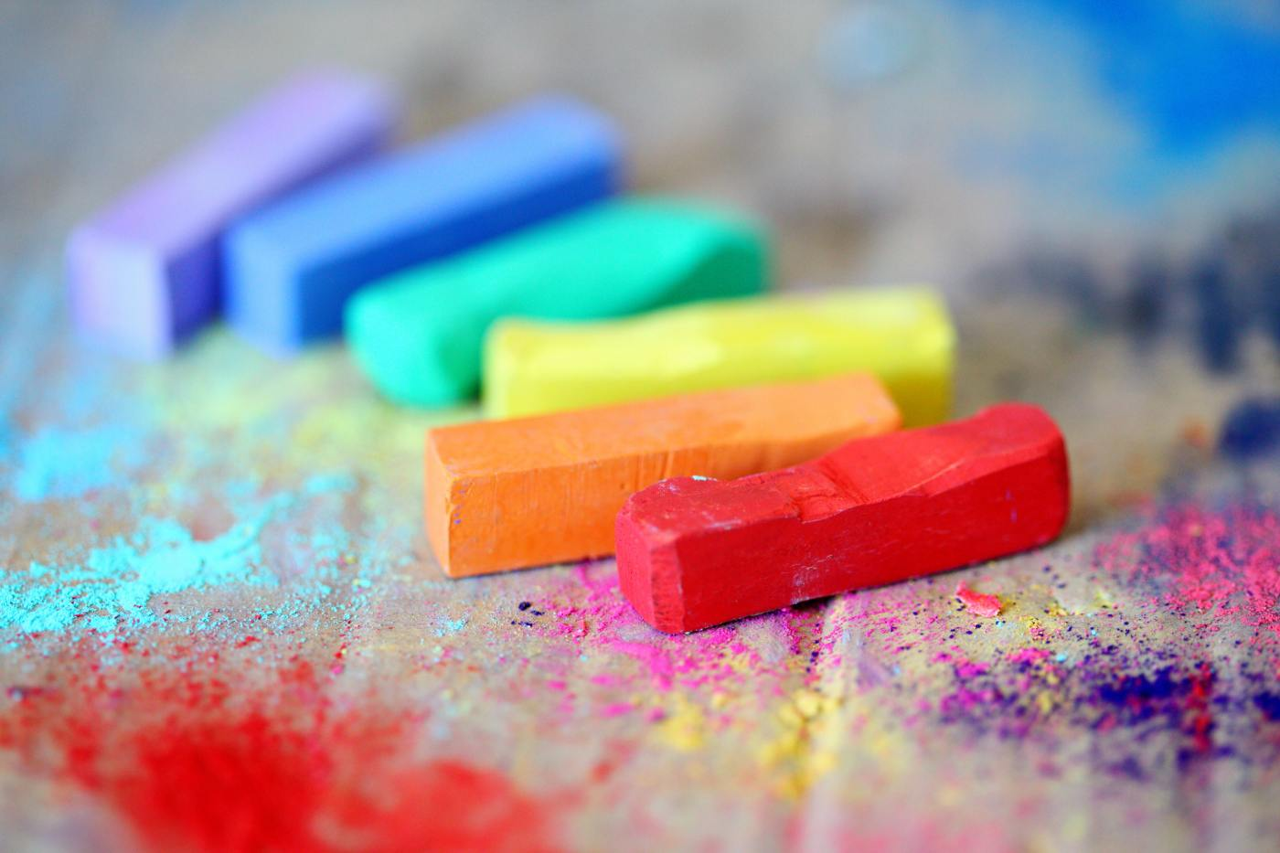Rich rainbow-colored chalk for art and the artist's life