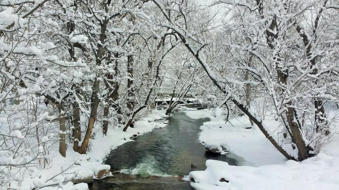 a snowy Boulder Creek
