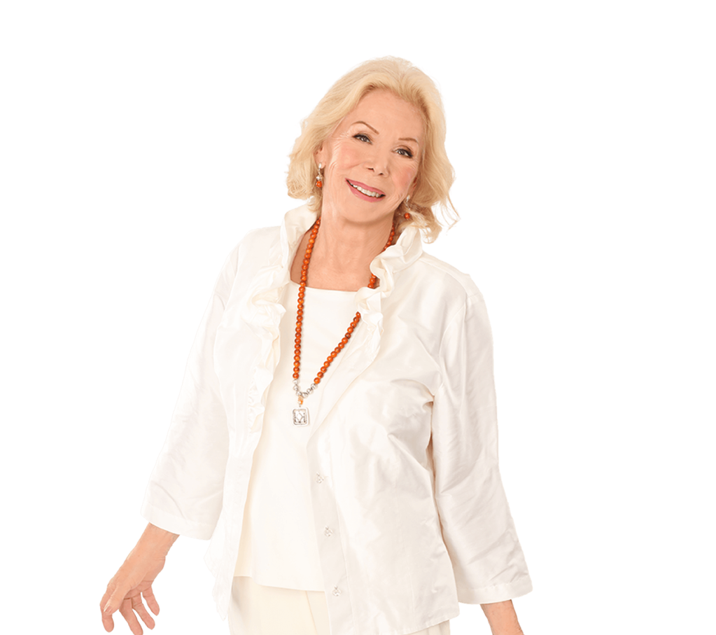 Louise Hay full image in white, author of Heart Thoughts: A Treasury of Inner Wisdom, book review