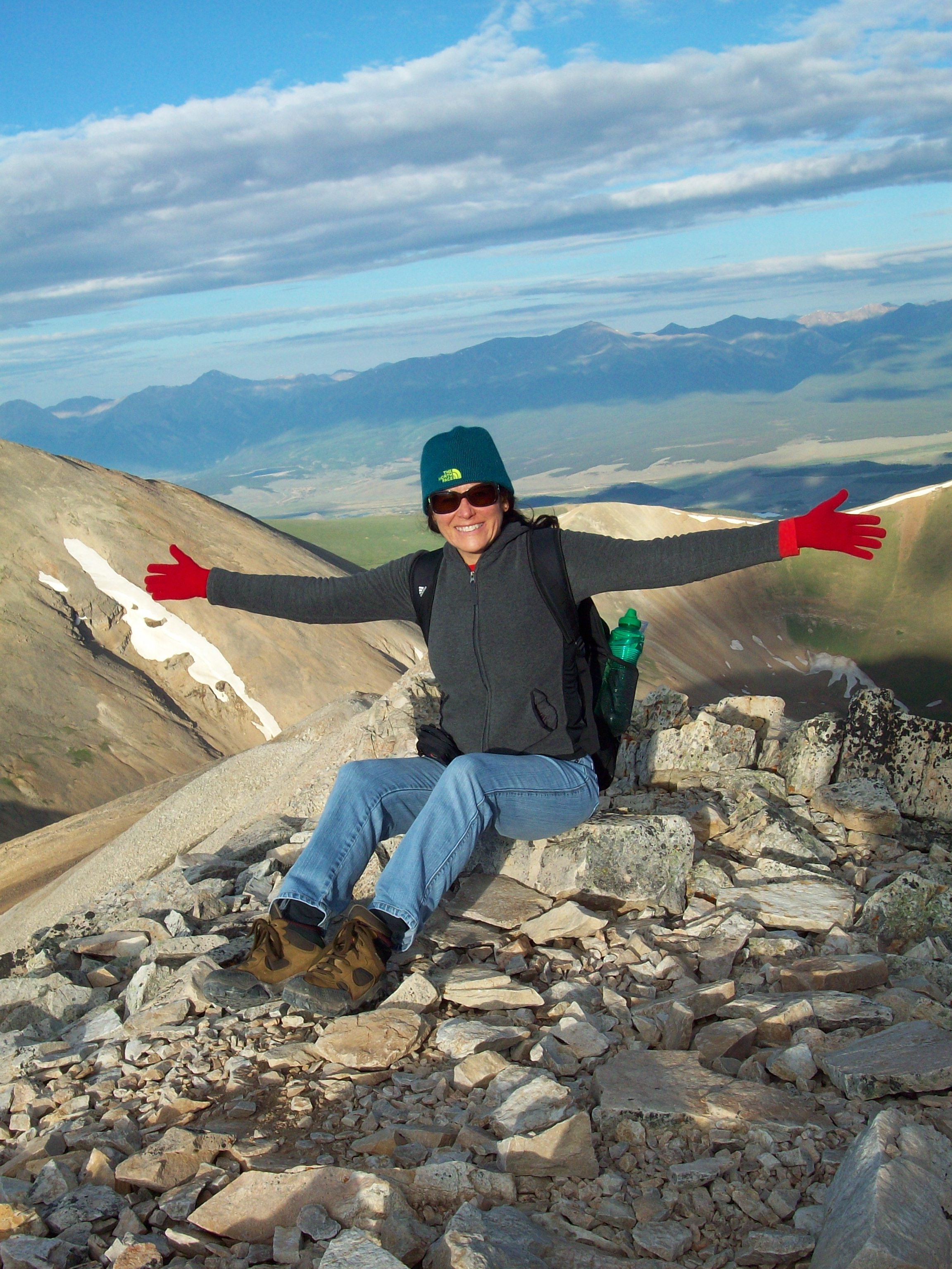 At the top of Mt. Sherman, Colorado, Vilma Reynoso, after a successful climb