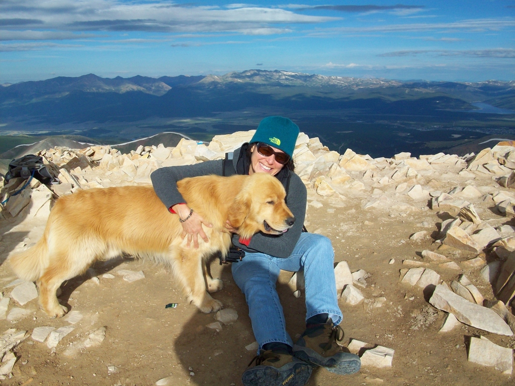 At the top of Mt. Sherman, Colorado,  after a successful climb, Vilma Reynoso