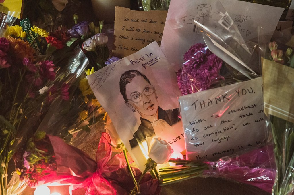 Flowers and cards for Ruth Bader Ginsburg left on the Supreme Court building in the United States
