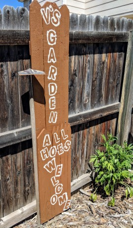 garden sign with 'V's garden all hoes welcome'