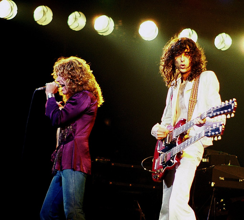 Robert Plant and Jimmy Page from Led Zeppelin on 1979 in concert.