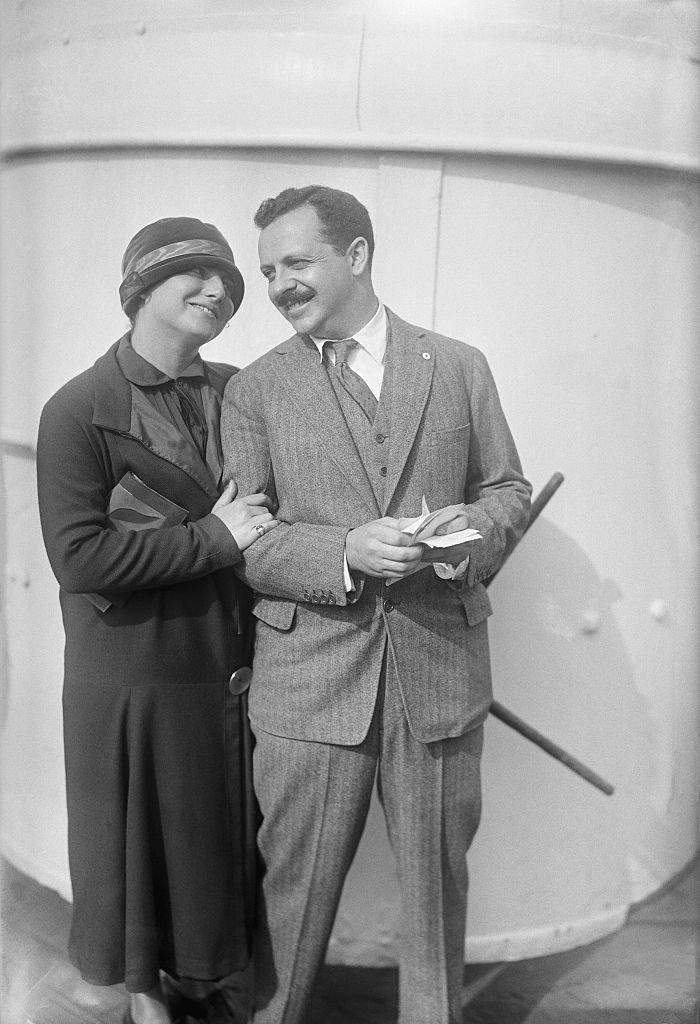 Edward Bernays and a lady friend standing full figure