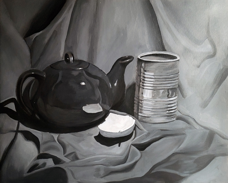 painting by artist Lexi Finnegan, black teapot, tin can on a gray clothe background