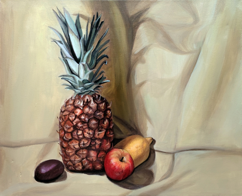 painting by artist Lexi Finnegan, pineapple with a small red apple, a lemon, and a purple pear against a beige backdrop