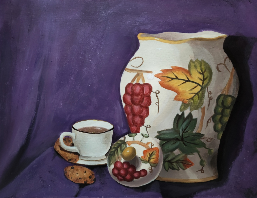 painting by artist Lexi Finnegan, autumn-themed pottery piece, red grapes, orange and green leaves, with a white cup of tea and chocolate chip cookies on a blue backdrop