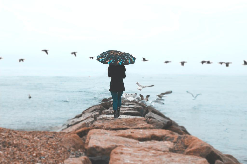 woman walking on rocks towards the beach with an umbrella, pants, and jeans. Seagulls flying overhead.