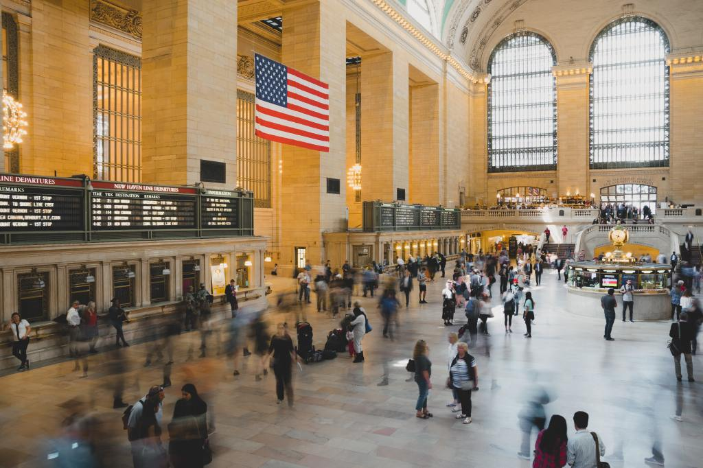 The commotion of people at Grand Central Train Station in New York City
